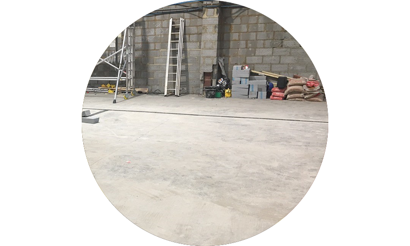Concrete floor that is nicely maintained and managed creating a clean dust free environment